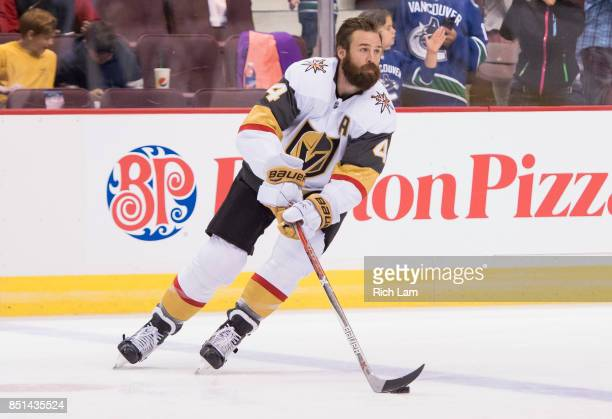 Clayton Stoner of the Las Vegas Golden Knights skates before a game against the Vancouver Canucks in NHL preseason action on September 17 2017 at...