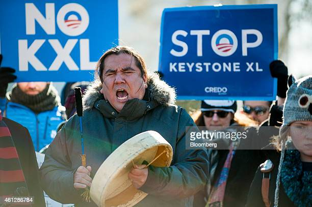 Clayton ThomasMuller with Idle No More and 350org rallies with demonstrators against the Keystone XL pipeline outside of the White House in...