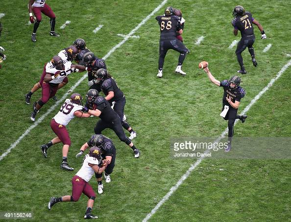 Clayton Thorson of the Northwestern Wildcats passes against the Minnesota Golden Gophers at Ryan Field on October 3 2015 in Evanston Illinois...