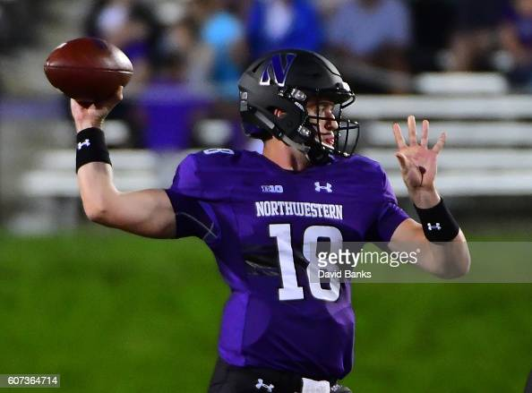 Clayton Thorson of the Northwestern Wildcats throws against the Duke Blue Devils during the first half on September 17 2016 at Ryan Field in Evanston...