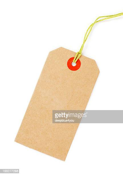 Clean brown Price tag with yellow loop isolated