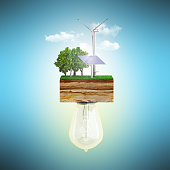Clean energy concept The bulb is connected to a clutch of ground with a windmill and a solar battery 3d ernderClean energy concept The bulb is connected to a clutch of ground with a windmill and a sol