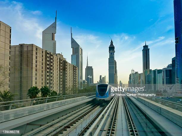 Clean futuristic transportation in Dubai