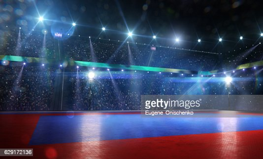 Clean grand combat arena in bright lights : Stock Photo