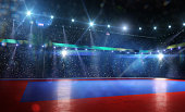 Clean grand combat arena in bright lights background