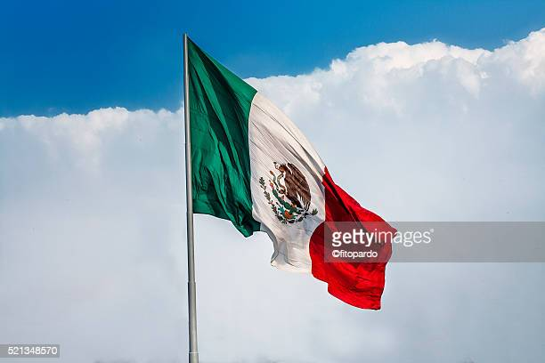 Clean Mexican Flag with clouds in the background