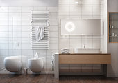 Frontal view of a clean and modern bathroom, white ceramic tiles, wood floor. 3D rendering