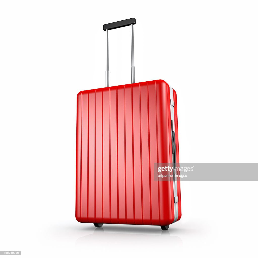 Clean red suitcase with extended handle, on white : Stock Photo