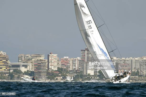 Clean Seas racing team sail off the coast of Alicante southeastern Spain on October 14 2017 during an inport race ahead of the next Volvo Ocean Race...
