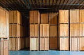 Storage solutions with crates made of wood interior. Logistics and Distribution