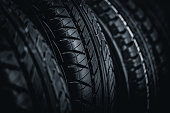 Clean Tyre, black new shiny car tire background in sale stock