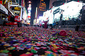 Clean up begins after New Year's Eve celebrations in Times Square on January 1 2015 in New York City An estimated one million people from around the...