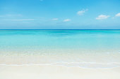 Japanese clean white beach in Okinawa prefecture