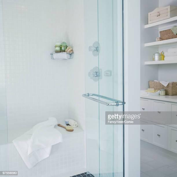 Clean white shower stall
