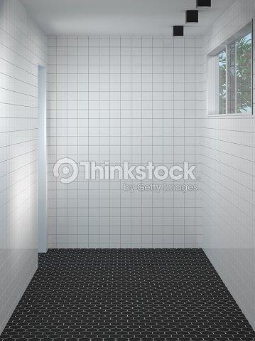 Limpiar El Cuarto De Baño Moderno De Pared Blanca Esperando Para ...