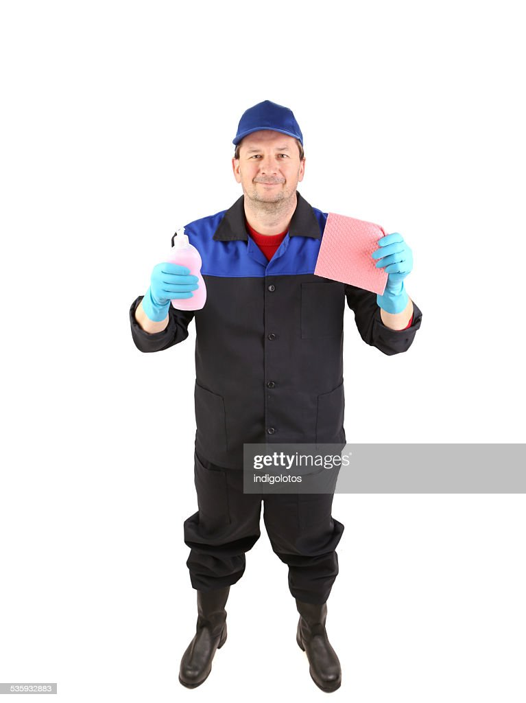 Cleaner with detergents and sponges. : Stock Photo