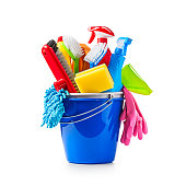 Blue bucket with cleaning supplies isolated on white background. Single object with clipping path