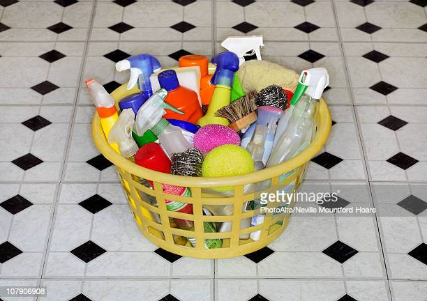 Cleaning products in laundry basket