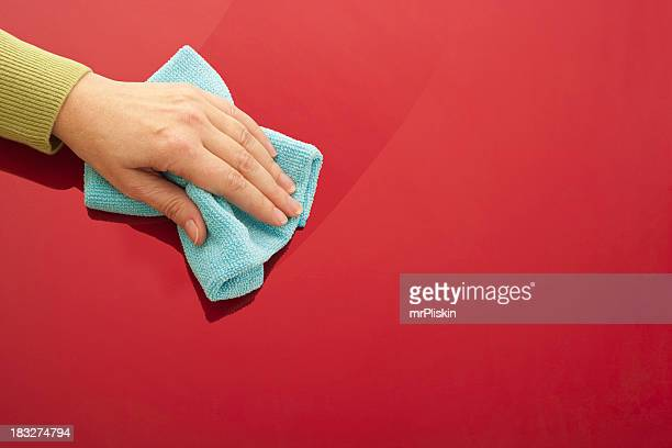 Cleaning red glossy surface