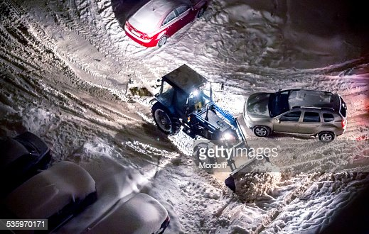 Cleaning snow after snowfall : Stock Photo