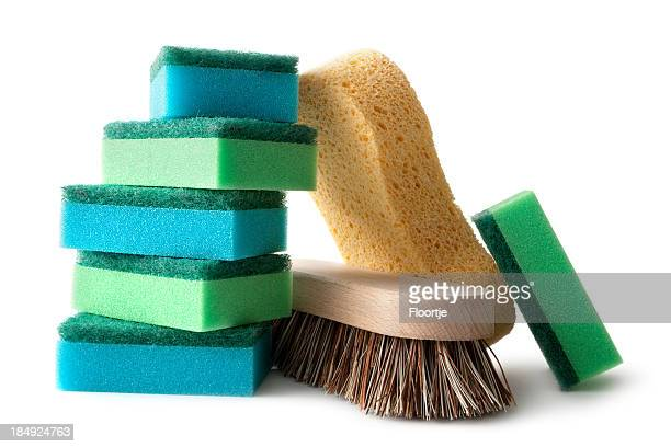 Cleaning: Sponges and Brush Isolated on White Background