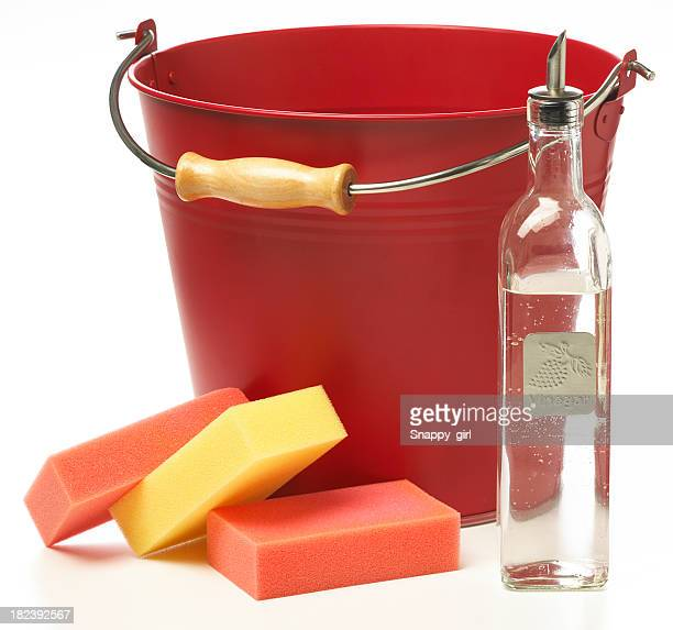 Cleaning supplies with a red bucket, sponges, and a bottle