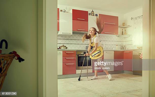 cleaning the kitchen with joy