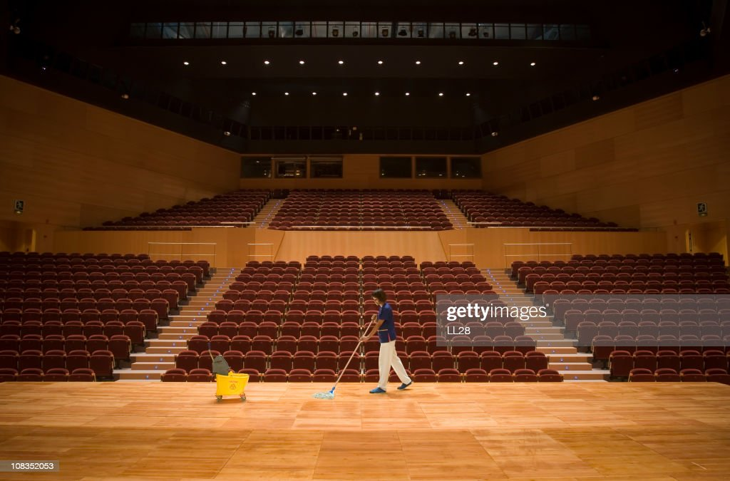 Cleaning up a theather : Stock Photo