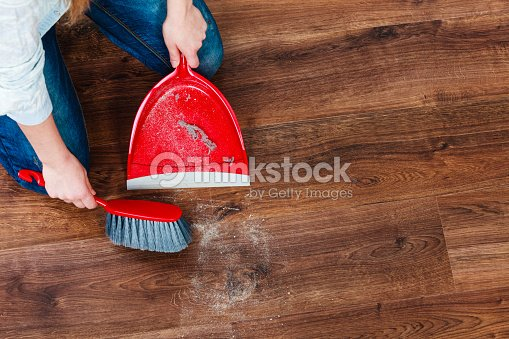 Cleaning Woman Sweeping Wooden Floor Stock Photo Thinkstock