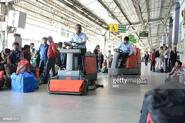 Cleanliness drive at city's Railway Station after a launch of Swachh Bharat Abhiyan by PM Modi on February 24 2015 in Bengaluru India