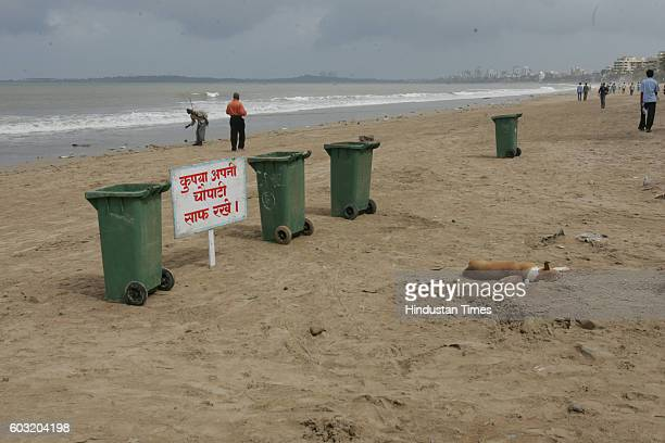 Cleanliness Drive Dustbins Dust Bins JUHU BEACH CLEAN UP VIEW OF THE BEACH BEHIND HOLIDAY INN HOTEL