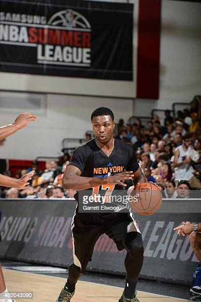 Cleanthony Early of the New York Knicks dribbles the ball against the Dallas Mavericks at the Samsung NBA Summer League 2014 on July 11 2014 at the...