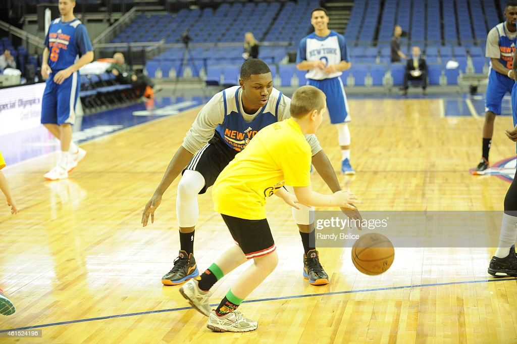<a gi-track='captionPersonalityLinkClicked' href=/galleries/search?phrase=Cleanthony+Early&family=editorial&specificpeople=10064686 ng-click='$event.stopPropagation()'>Cleanthony Early</a> of the New York Knicks interacts with the kids during the NBA Cares Unified Basketball Clinic as part of the 2015 Global Games on January 14, 2015 at The O2 Arena in London, England.