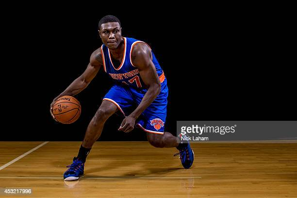 Cleanthony Early of the New York Knicks poses for a portrait during the 2014 NBA rookie photo shoot at MSG Training Center on August 3 2014 in...