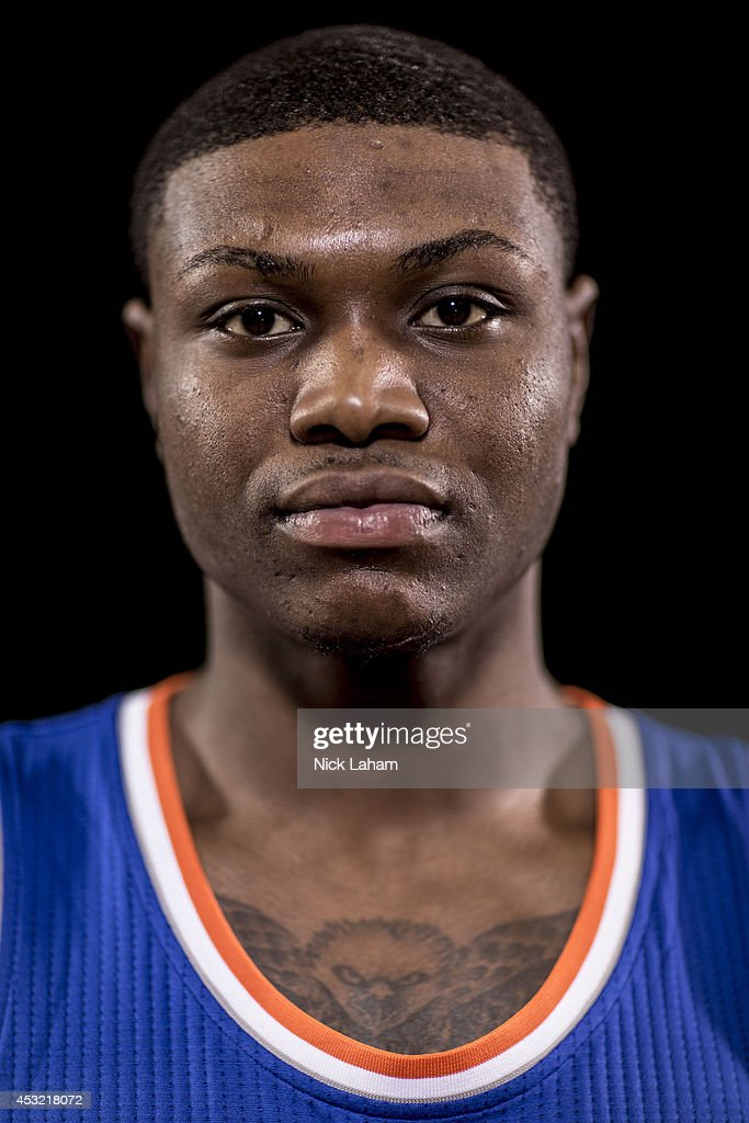 Cleanthony Early #17 of the New York Knicks poses for a portrait during the 2014 NBA rookie photo shoot at MSG Training Center on August 3, 2014 in Tarrytown, New York.