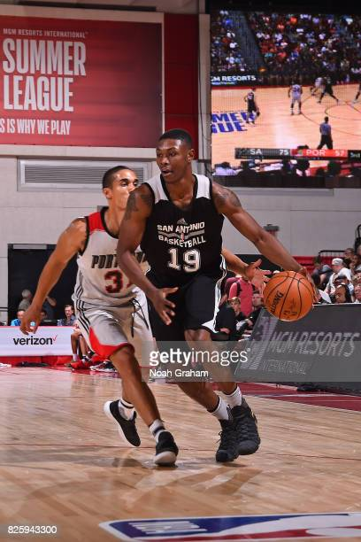 Cleanthony Early of the San Antonio Spurs dribbles the ball during the 2017 Las Vegas Summer League game against the Portland Trail Blazers on July...
