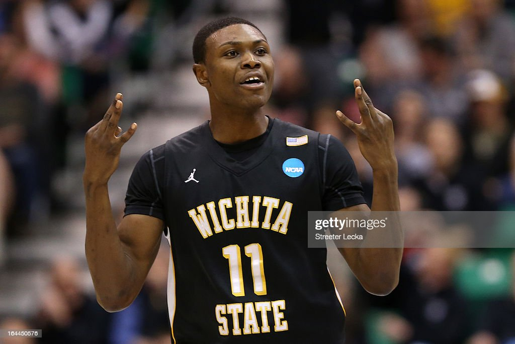 Cleanthony Early #11 of the Wichita State Shockers celebrates after making a three-pointer in the second half against the Gonzaga Bulldogs during the third round of the 2013 NCAA Men's Basketball Tournament at EnergySolutions Arena on March 23, 2013 in Salt Lake City, Utah.