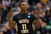Cleanthony Early of the Wichita State Shockers celebrates after making a threepointer in the second half against the Gonzaga Bulldogs during the...