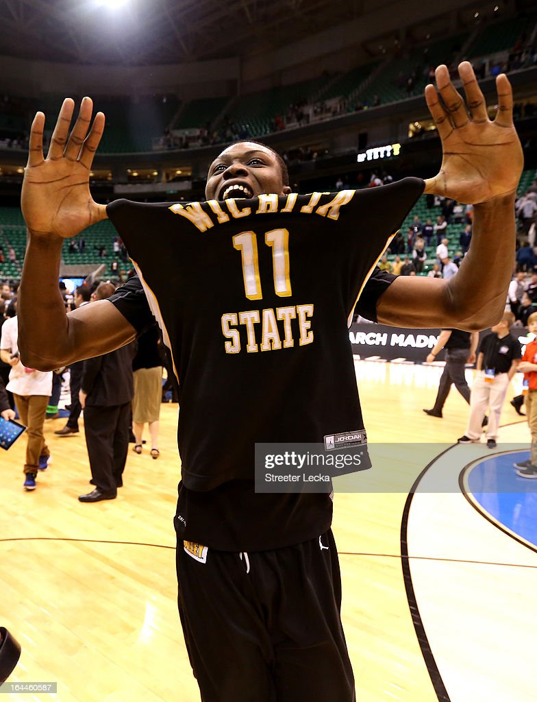 Cleanthony Early #11 of the Wichita State Shockers celebrates after defeating the Gonzaga Bulldogs 76-70 during the third round of the 2013 Men's NCAA Basketball Tournament at EnergySolutions Arena on March 23, 2013 in Salt Lake City, Utah.