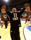 Cleanthony Early of the Wichita State Shockers celebrates after defeating the Gonzaga Bulldogs 7670 during the third round of the 2013 Men's NCAA...