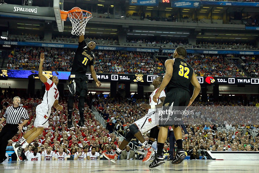<a gi-track='captionPersonalityLinkClicked' href=/galleries/search?phrase=Cleanthony+Early&family=editorial&specificpeople=10064686 ng-click='$event.stopPropagation()'>Cleanthony Early</a> #11 of the Wichita State Shockers dunks in the first half against the Wayne Blackshear #20 of the Louisville Cardinals during the 2013 NCAA Men's Final Four Semifinal at the Georgia Dome on April 6, 2013 in Atlanta, Georgia.