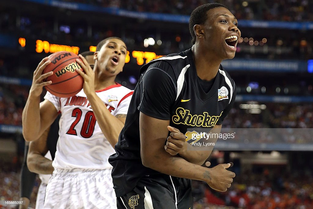 <a gi-track='captionPersonalityLinkClicked' href=/galleries/search?phrase=Cleanthony+Early&family=editorial&specificpeople=10064686 ng-click='$event.stopPropagation()'>Cleanthony Early</a> #11 of the Wichita State Shockers reacts in the secon dhalf against Wayne Blackshear #20 of the Louisville Cardinals during the 2013 NCAA Men's Final Four Semifinal at the Georgia Dome on April 6, 2013 in Atlanta, Georgia.