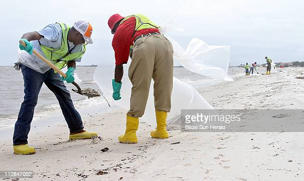 A cleanup crew works to remove tar balls from the beach in Gulfport Mississippi on Tuesday June 29 2010