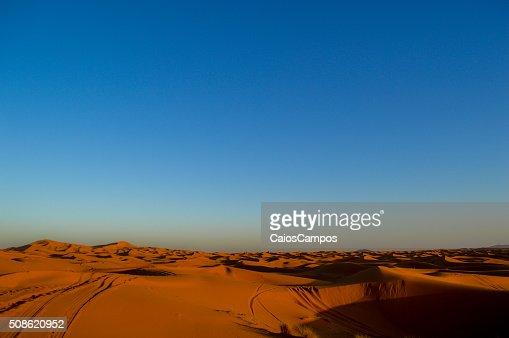 Clear blue sky over Sahara desert : Stock Photo