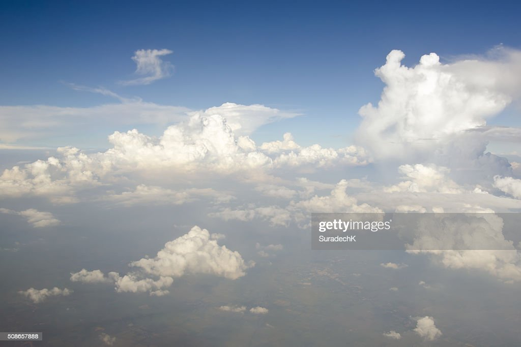 Clear blue sky with white cloud : Stock Photo