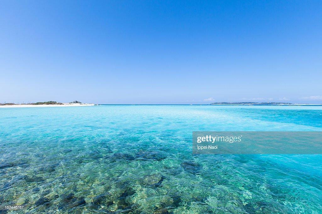 Clear blue tropical beach water, Okinawa, Japan