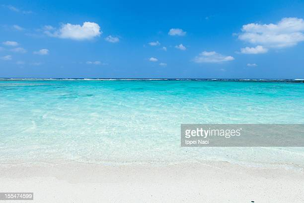 Clear blue tropical water and white sand beach