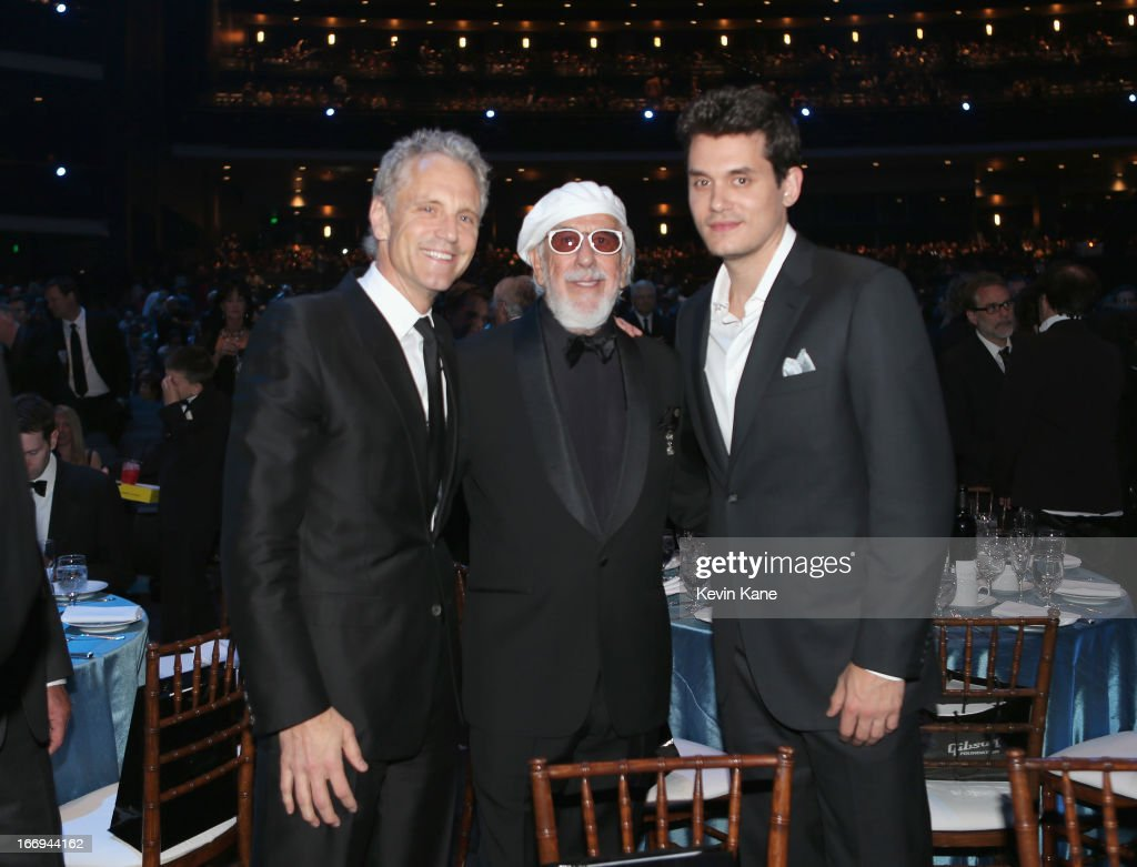 Clear Channel Entertainment Enterprises President John Sykes inductee Lou Adler and musician John Mayer attend the 28th Annual Rock and Roll Hall of...