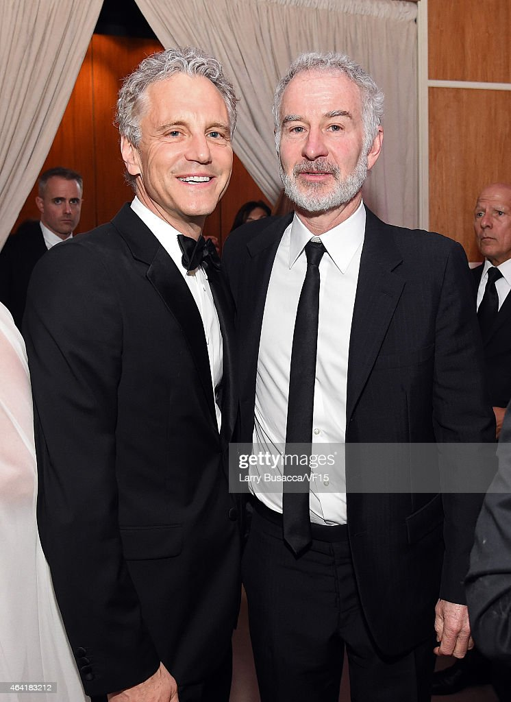 Clear Channel's President of Entertainment Enterprises John Sykes and John McEnroe attend the 2015 Vanity Fair Oscar Party Viewing Dinner hosted by...