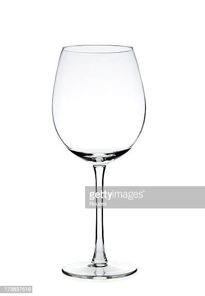 Clear empty wine glass against a white background